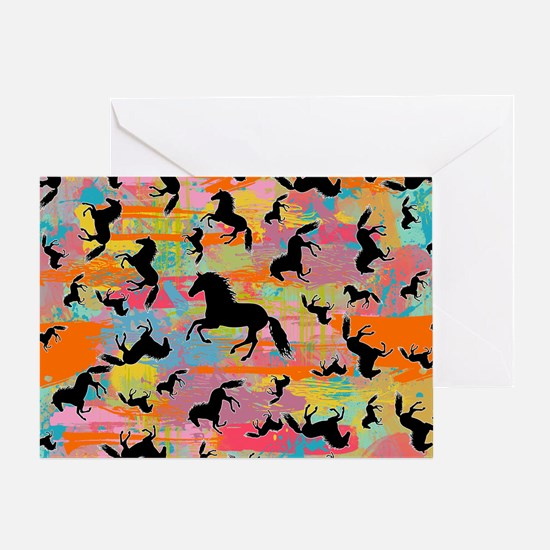 Colorful Horses Greeting Card