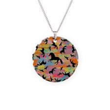 Colorful Horses Necklace Circle Charm