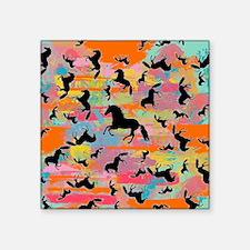 "Colorful Horses Square Sticker 3"" x 3"""