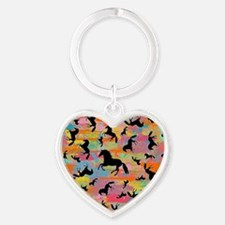 Colorful Horses Heart Keychain