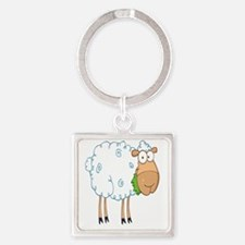 funky cartoon white sheep chewing  Square Keychain