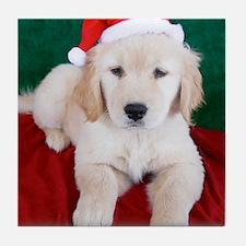 Golden Retriever Puppy Christmas Tile Coaster