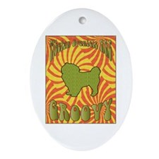 Groovy Spaniels Oval Ornament
