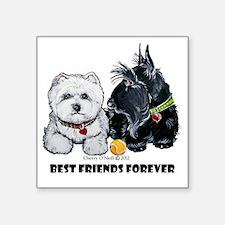 """Westie Scottie Best Friends Square Sticker 3"""" x 3"""""""