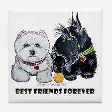 Westie Scottie Best Friends Tile Coaster