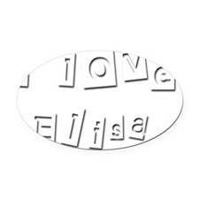 I Love Elisa Oval Car Magnet