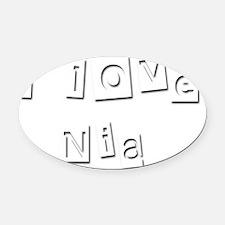 I Love Nia Oval Car Magnet