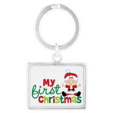 Baby Santa Babies First Christm Landscape Keychain