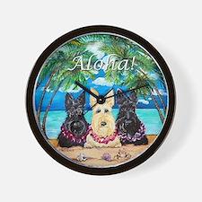 Scottish Terrier Aloha Paradise! Wall Clock