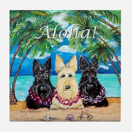 Scottish Terrier Aloha Paradise! Tile Coaster