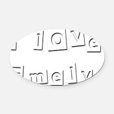 I Love Emely Oval Car Magnet