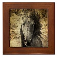 Friesian Horse Framed Tile