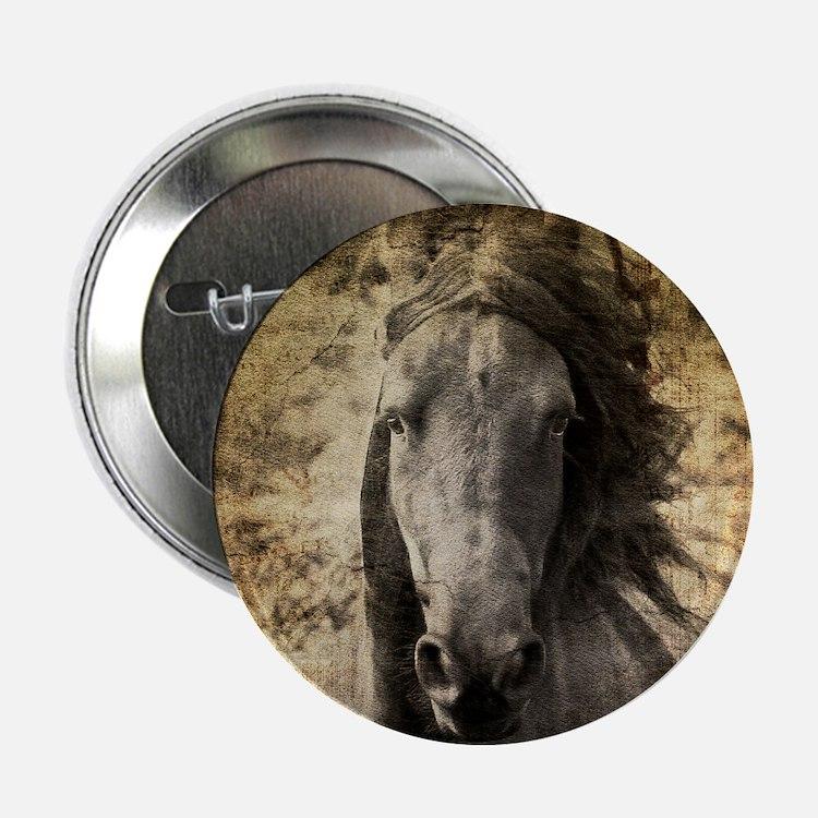 "Friesian Horse 2.25"" Button"
