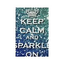 Girly keep Calm And Sparkle On Aq Rectangle Magnet