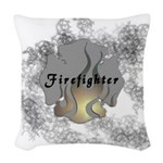 Firefighter Flame Tattoo Woven Throw Pillow