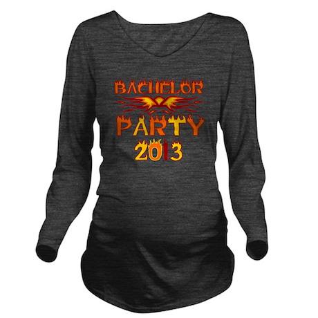 Flames Bachelor Part Long Sleeve Maternity T-Shirt