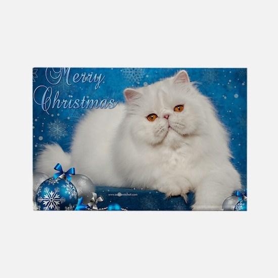 Perisan Cat Christmas Card Rectangle Magnet