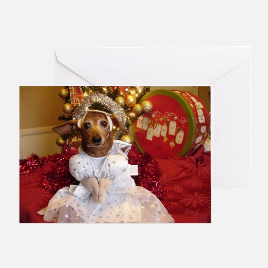Dachshund Christmas angel Greeting Card
