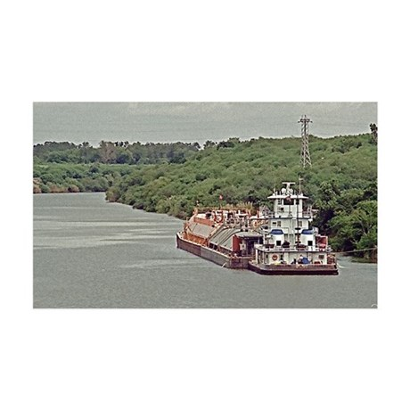 Tug and barge on Texas Canal 35x21 Wall Decal