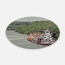 Tug and barge on Texas Canal Oval Car Magnet