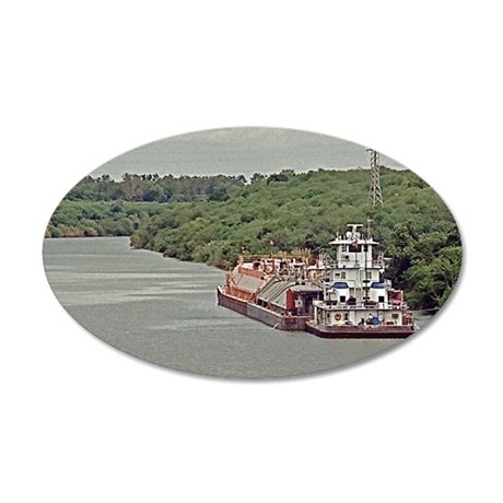 Tug and barge on Texas Canal 35x21 Oval Wall Decal