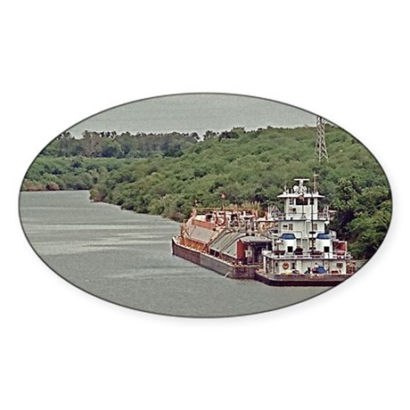 Tug and barge on Texas Canal Sticker (Oval)