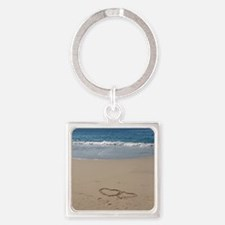 Hearts on the Beach Square Keychain