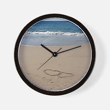 Hearts on the Beach Wall Clock