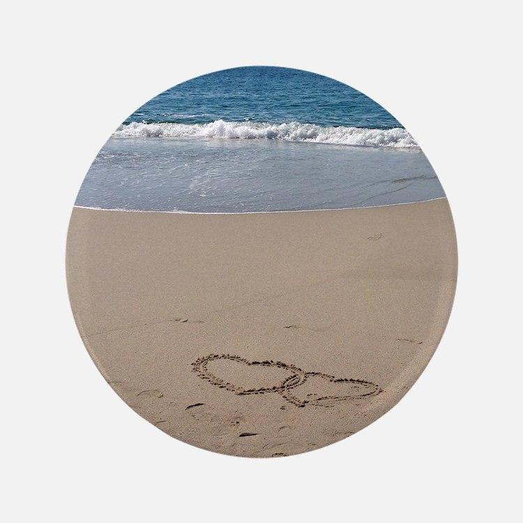 "Hearts on the Beach 3.5"" Button"