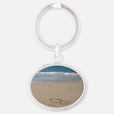 Hearts on the Beach Oval Keychain