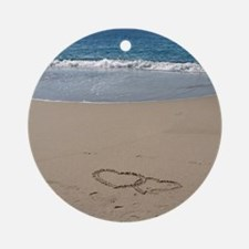Hearts on the Beach Round Ornament