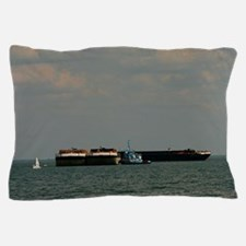 Small Sailboat Near Large Barges And T Pillow Case
