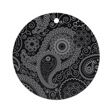 Black and white paisley Round Ornament