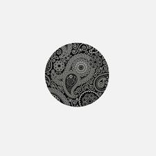Black and white paisley Mini Button