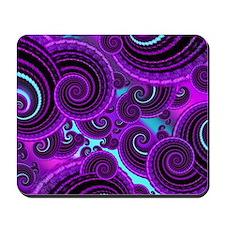 Funky Purple Swirl Fractal Art Pattern Mousepad