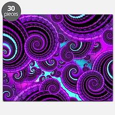 Funky Purple Swirl Fractal Art Pattern Puzzle