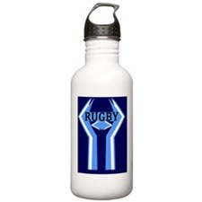 Rugby Blue and White Water Bottle
