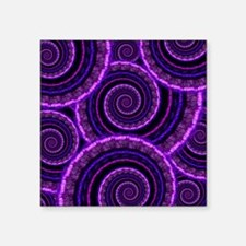 "Purple Spiral Fractal Art P Square Sticker 3"" x 3"""