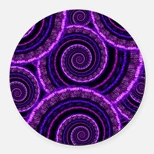 Purple Spiral Fractal Art Pattern Round Car Magnet