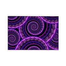 Purple Spiral Fractal Art Pattern Rectangle Magnet
