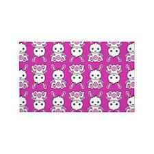 Kawaii Pink Bunny Pattern 3'x5' Area Rug