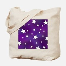 Purple and White Star Pattern Tote Bag