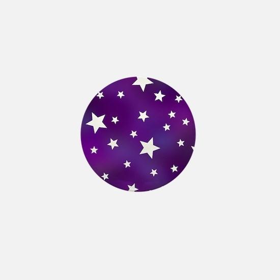 Purple and White Star Pattern Mini Button