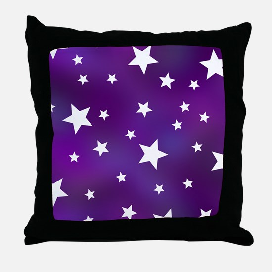 Purple and White Star Pattern Throw Pillow
