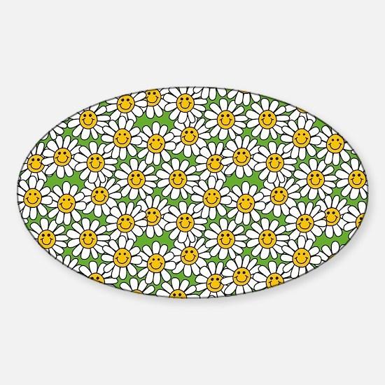 Smiley Daisy Flowers Pattern Sticker (Oval)