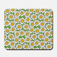 Smiley Daisy Flowers Pattern Mousepad