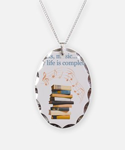 Books and music Necklace Oval Charm