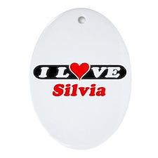 I Love Silvia Oval Ornament