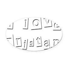 I Love Tristan Oval Car Magnet