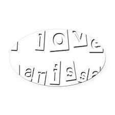 I Love Larissa Oval Car Magnet